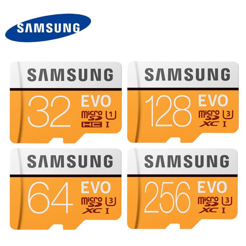 SAMSUNG EVO micro SD Card 64G 128G 256G U3 4K UHD Class10 UHS-I 100MB/S SDXC Flash Memory Card 32GB U1 FHD SDHC 95MB/S TF Cards