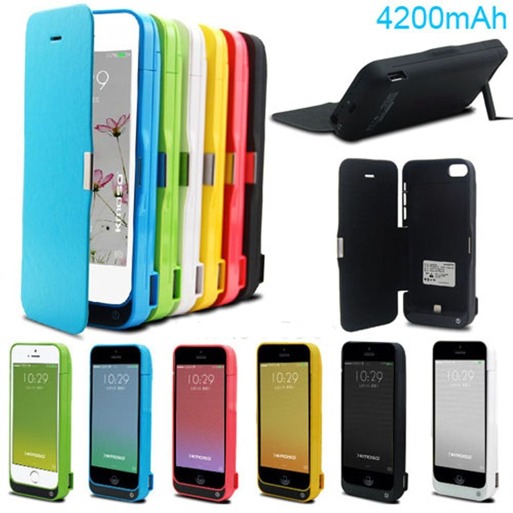 Ru US shipment 4200mAh Power pack cover bank Backup Battery Case For IPhone SE 5 5s 5c se with Tempered glass USB cable line