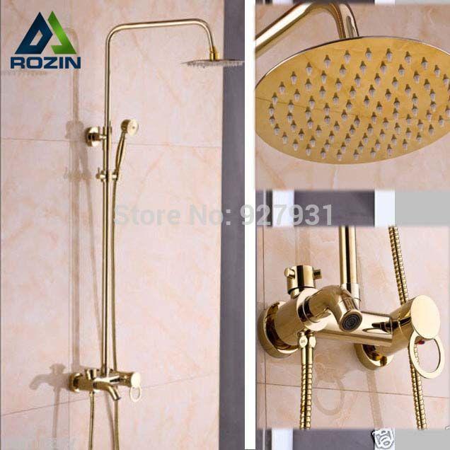 Top-grade 8 Ultradünne Dusche Kopf + Handheld Dusche Messing Einzigen Handgriff Dusche Wasserhahn Komplette Set Gold Farbe