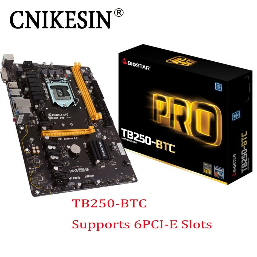 2017 Новый 6 PCIe TB250-BTC оригинал для biostar материнских плат TB250 1151 DDR4 добыча доска (альтернатива H81 PRO BTC TB85 h81A)