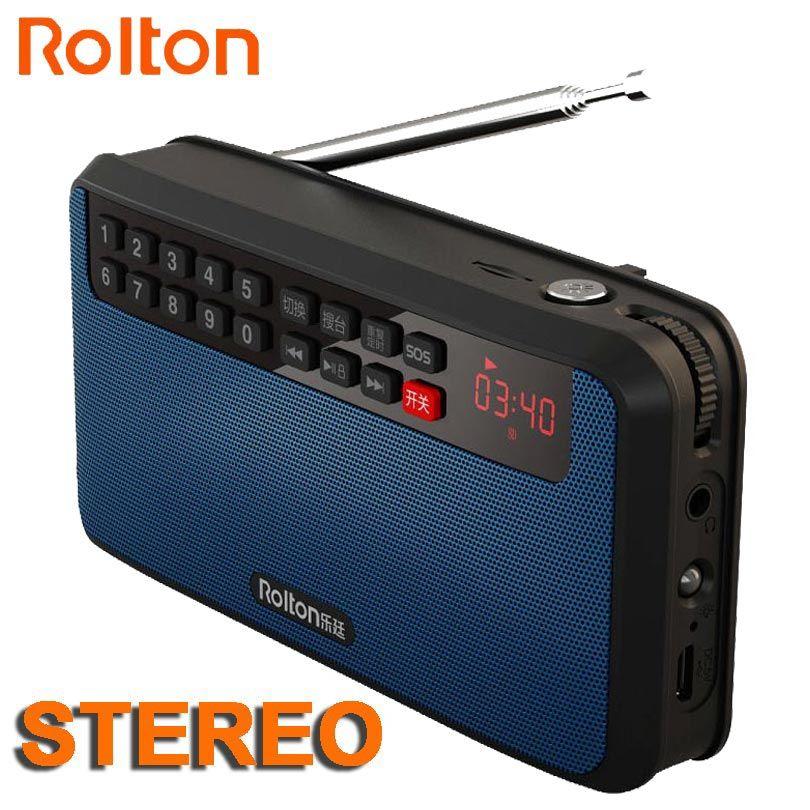 RoltonT60 lecteur MP3 Mini haut-parleurs Audio portables 2.1 Radio FM avec Support de écran LED carte TF jouant de la musique de haute lampe de poche LED