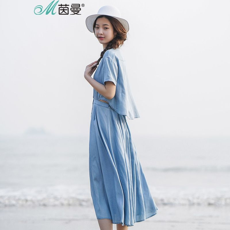 INMAN 2018 summer new the design of the back hollowed-out Fake two pieces denim dresses women.