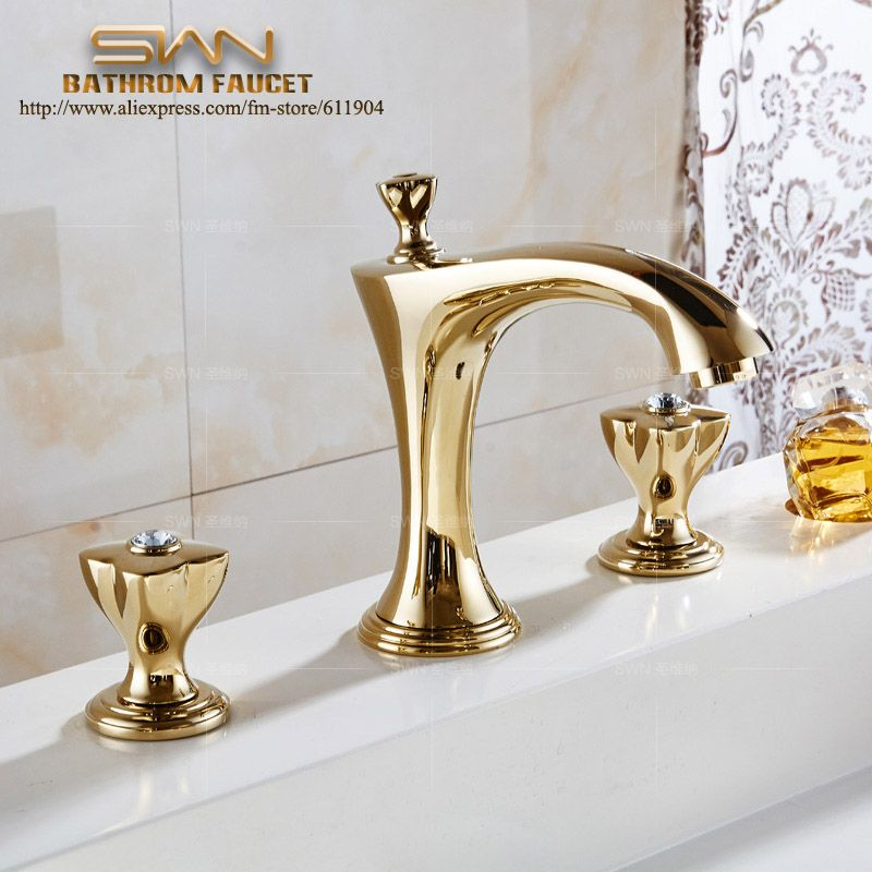 3 PCS Luxury Chrome Golden Rose Red Brass Bathroom Faucet Vanity Sink Lavatory Basin Sink Faucet Mixer Taps Three Hole