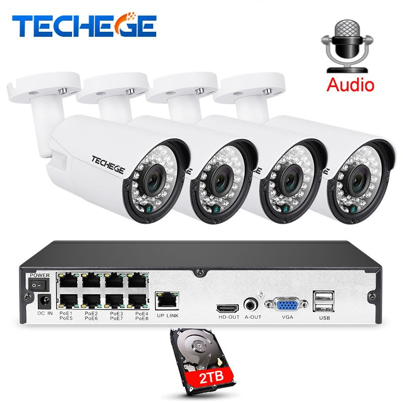 Techege 8CH 1080P CCTV System Audio Record 2MP 3000TVL PoE IP Camera Waterproof Outdoor Night Vision Video Surveillance system