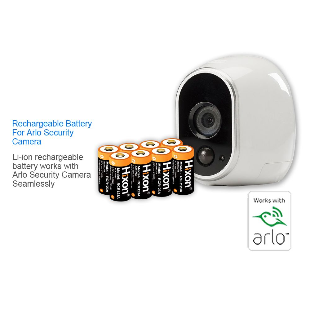 8 pcs 700mAh 3.7V RCR123A Lithium-ion Rechargeable Batteries for Netgear Arlo HD Cameras and Reolink CE,UL&FCC certificated