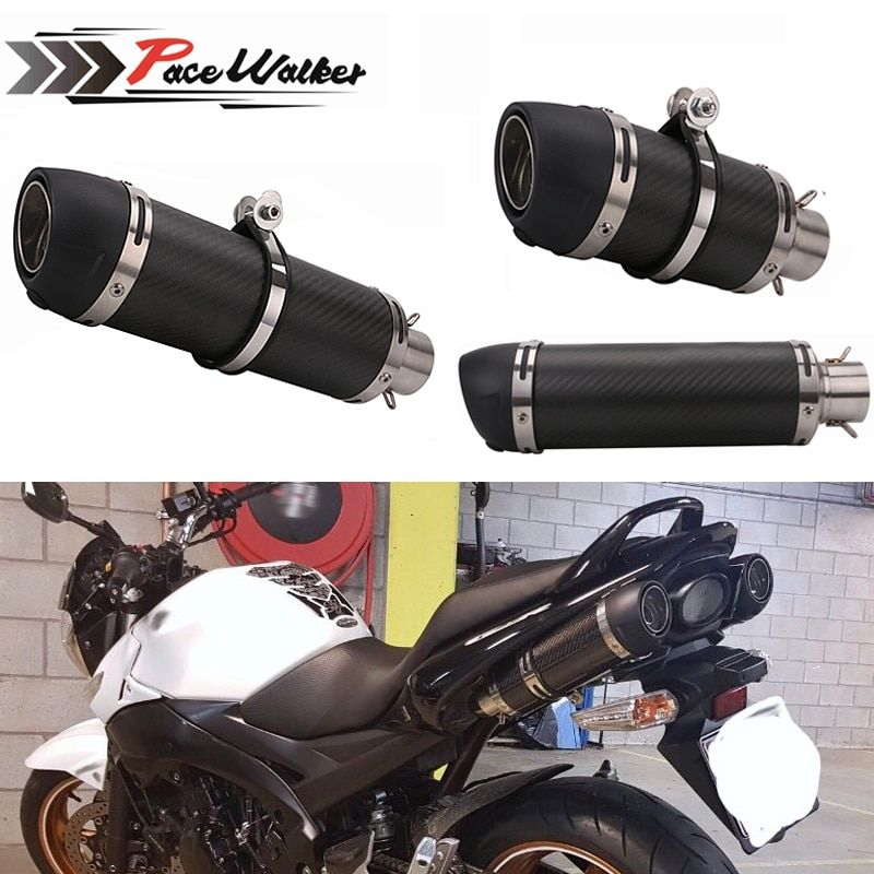 Motorcycle Exhaust Muffler Pipe Carbon Fiber Exhaust pipe CBR 125 250 CB400 CB600 YZF FZ400 Z750 Cafe Racer Exhaust Pipe
