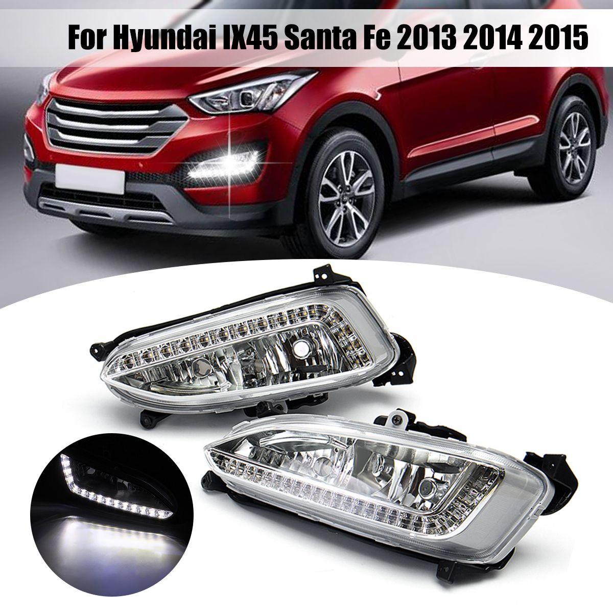 1 Pair 12V LED Car Fog Light Assembly for hyundai IX45 Santa Fe 2013 2014 2015 DRL Daytime Running Light Auto Accessories
