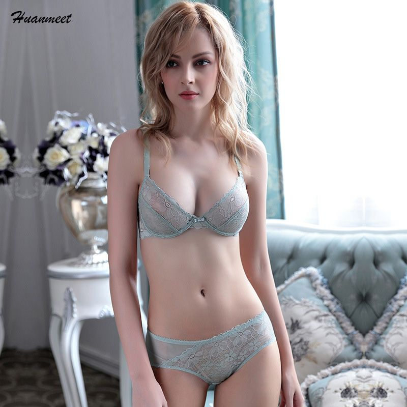 Huanmeet Fashion Temptation Sexy Bra Ultra-thin Transparent Lace Plus Size Underwear Fresh Girl's Push up 3/4 Cup Lingerie WS078