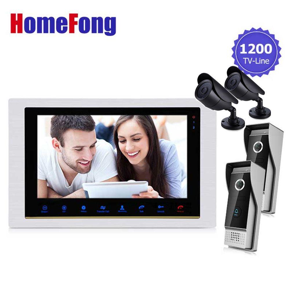 Homefong 10,1 Zoll Video-türsprechtürklingel Intercom Kit 2 Klingel-kamera + 2 Cctv-kamera + 1 monitor Nacht Vision