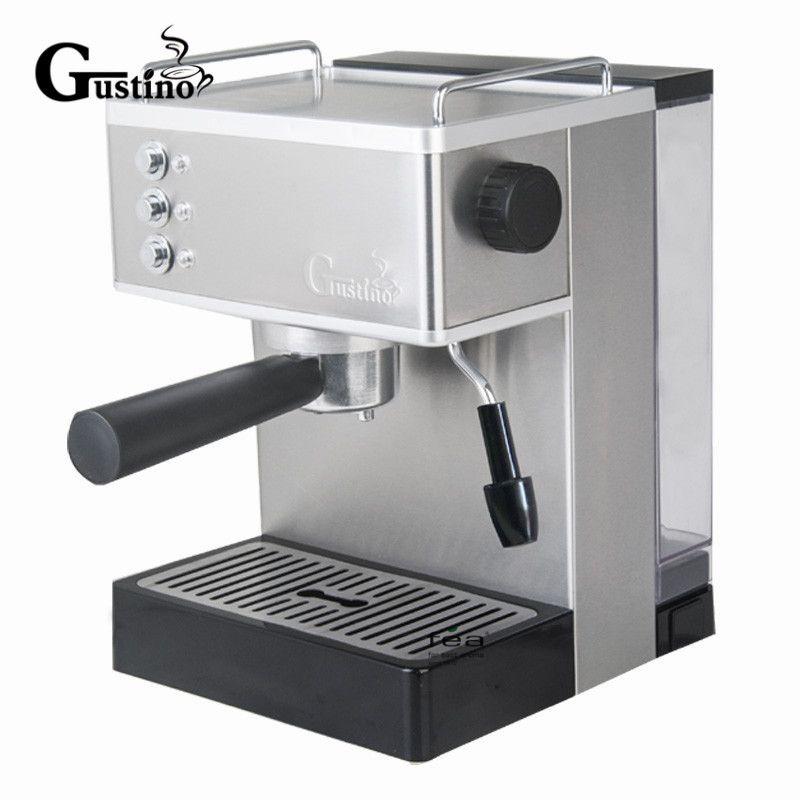 Gustino 19Bar Halbautomatische Kaffeemaschine Espressomaschine mit Milchschaum Edelstahl 304 Gehäuse für Haus oder Büro Mit