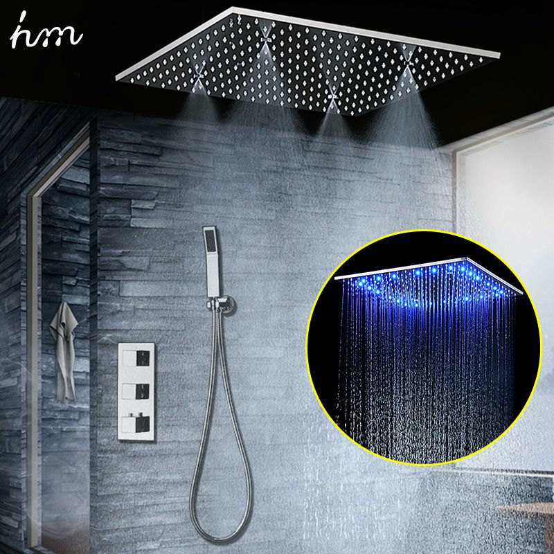 Concealed Thermostatic Shower Set SUS304 Mirror Finished Panel with 20
