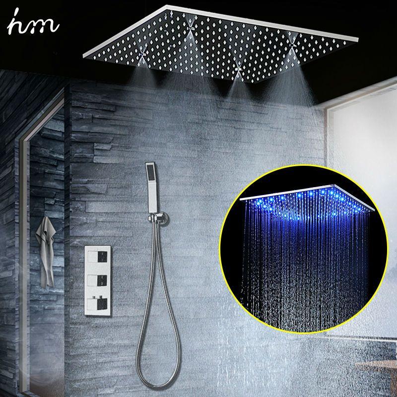 Verdeckte Dusche Set SUS304 Spiegel Fertig Panel mit 20 Embedded Decke LED Dusche Niederschläge Nebel SPA hm