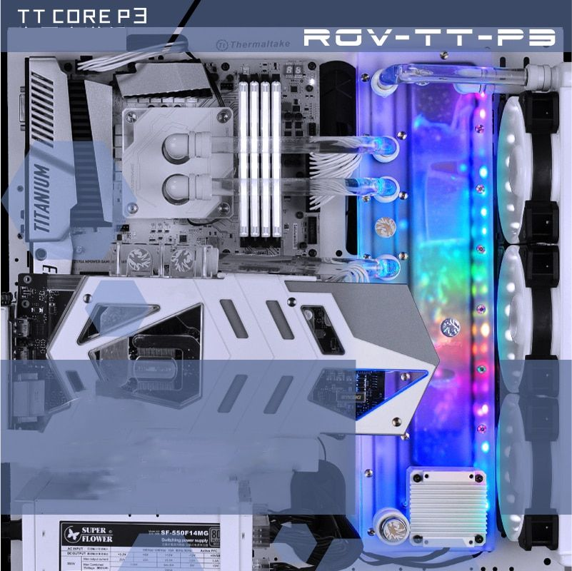 BYKSKI Acrylic Board Water Channel Solution use for ThermalTake/Tt Core P3 for CPU GPU Block / 3PIN RGB / Instead of Reservoir