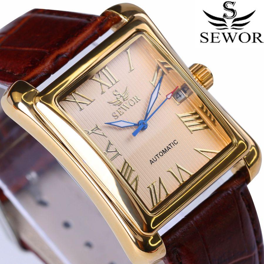 Nouveau SEWOR Top marque de luxe rectangulaire hommes montres automatique mécanique montre affichage romain Antique horloge Relogio montre-bracelet