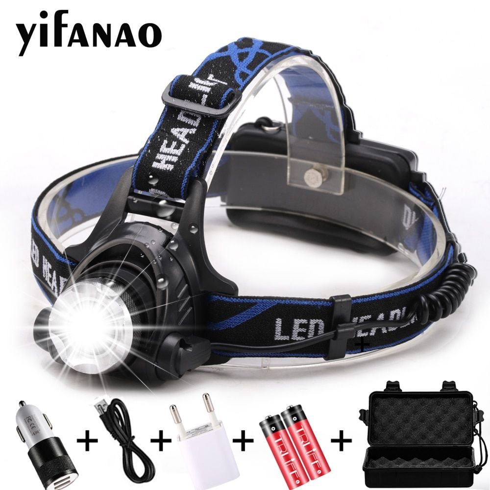 LED headlamp USB Charging LED Headlight 12000LM V6/L2/T6 Zoomable Lamp Waterproof Head Torch Flashlight Torch 3 Modes Use 18650