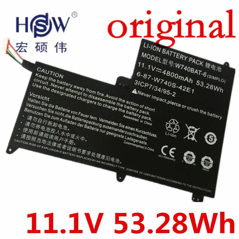 HSW 11,1 V 53.28Wh Batterie für Clevo W740BAT-6 6-87-W740S-42E 3ICP7/34/95-2 S413 W740SU X411 bateria akku