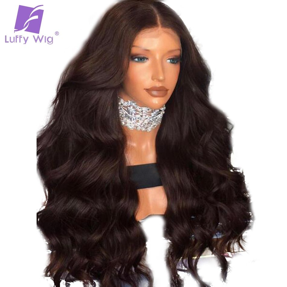 Luffy Body Wave Pre Plucked Hairline 180% Density 13x6 Deep Part Human Hair Lace Front Wig Bleached Knots Peruvian Non Remy