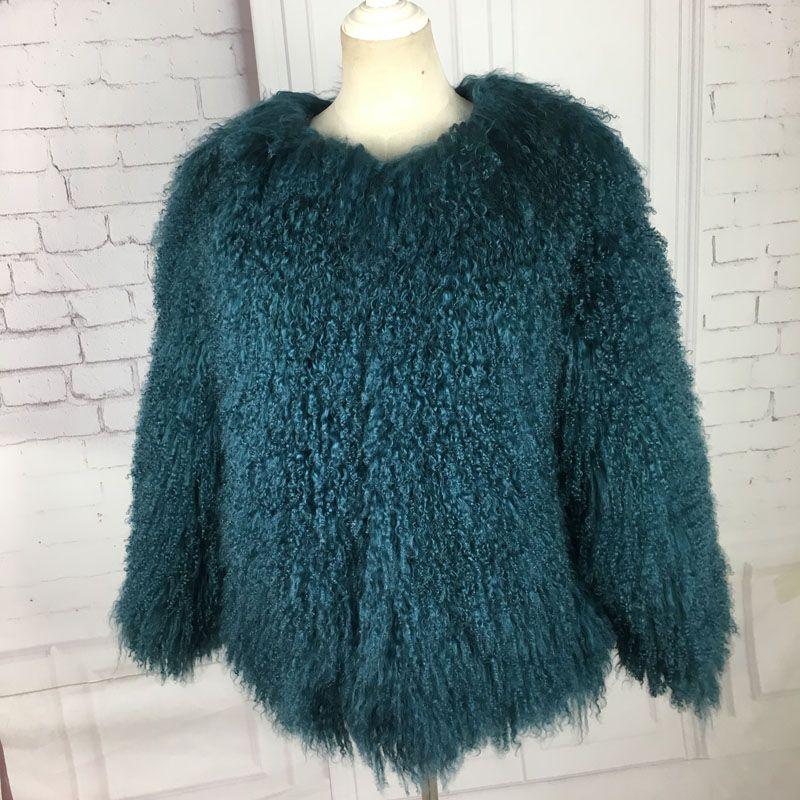 women sheepskin coats real fur short jacket fur lamb fur coat genuinesheep fur coat lamb 60 CM