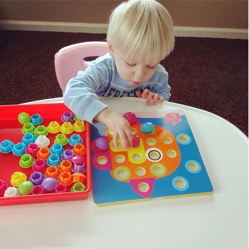 3D Puzzles jouets pour enfants Composite image Puzzle créatif mosaïque champignon ongles Kit éducatif jeu jouets pour enfants