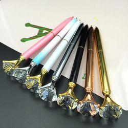 1PCS Kawaii Ballpoint Pen Big Gem Metal Ball Pen With Large Diamond Blue And Black Magical Pen Fashion School Office Supplies