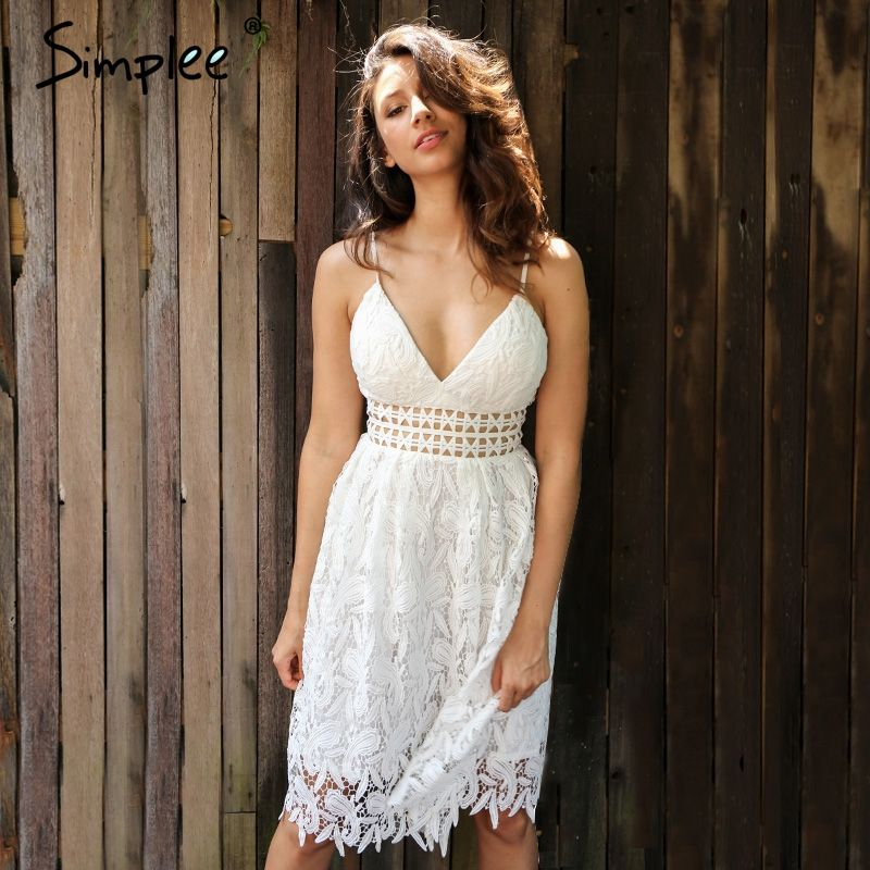 Simplee Deep V padded backless white lace dress Lined summer dress women sundress Sexy <font><b>hollow</b></font> out party dress vestido de festa