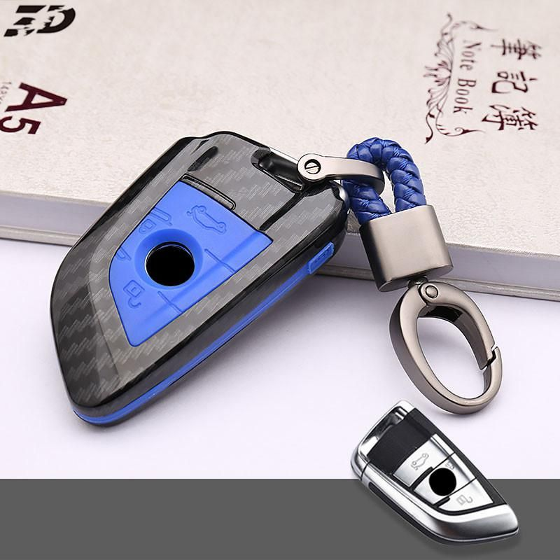 Key Case For Car Carbon Fiber 3 Buttons Key Cover For Bmw F20 F11 G30 F30 X1 M Car Key Cover With Keychain Key Portect