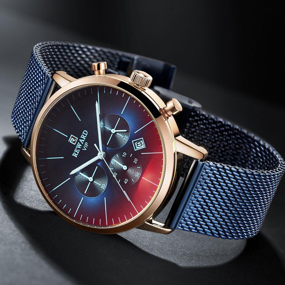 2019 nouvelle mode couleur verre lumineux montre hommes haut de luxe marque chronographe hommes en acier inoxydable horloge d'affaires hommes montre-bracelet