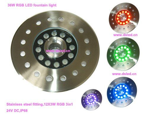 Free shipping by DHL !! IP68,good quality,36W RGB LED fountain light,RGB LED pool light,24V DC,DS-10-4-36W-RGB,stainless steel