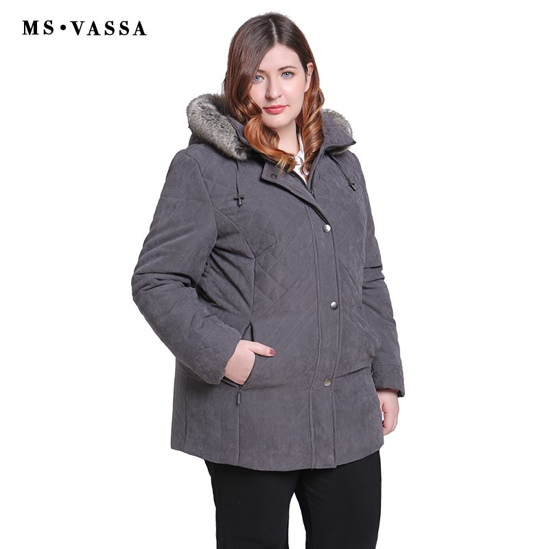 MS VASSA Women Parkas plus size 2018 New Winter Autumn Jackets Turn-down collar removed hood with fur Ladies big size outerwear