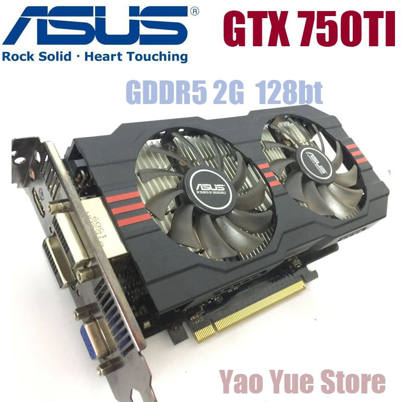 Asus GTX-750TI-OC-2GB GTX750TI GTX 750TI 2G D5 DDR5 128 Bit PC Desktop Graphics Cards PCI Express 3.0 computer Video card