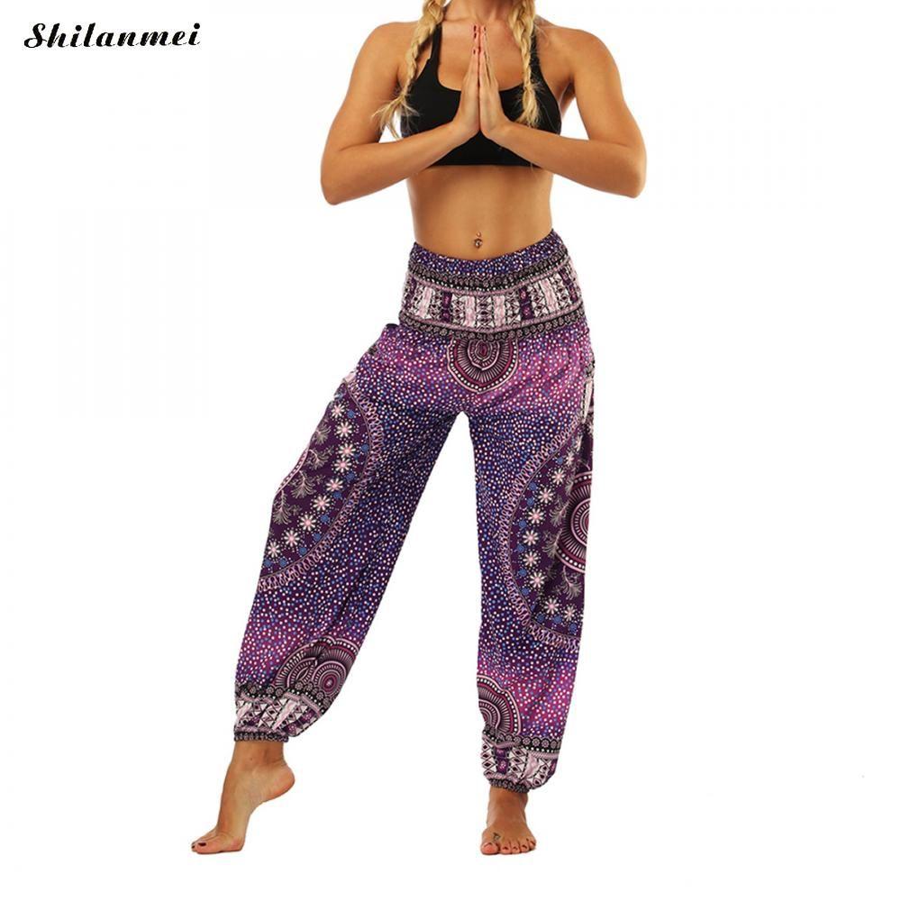 Taille unique imprimé femmes Yoga pantalon mélange bohême multicolore géométrique imprimé Long Yoga pantalon indien lâche comfortable Harem pantalon
