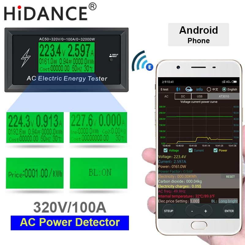 AC Meter 100A Digital Voltage phone app indicator Power Energy Voltmeter Ammeter current Amps Volt wattmeter tester detector
