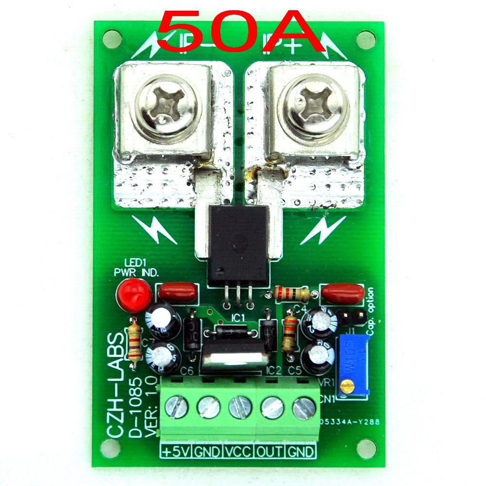 Panel Mount +/-50Amp AC/DC Current Sensor Module Board, based on ACS758