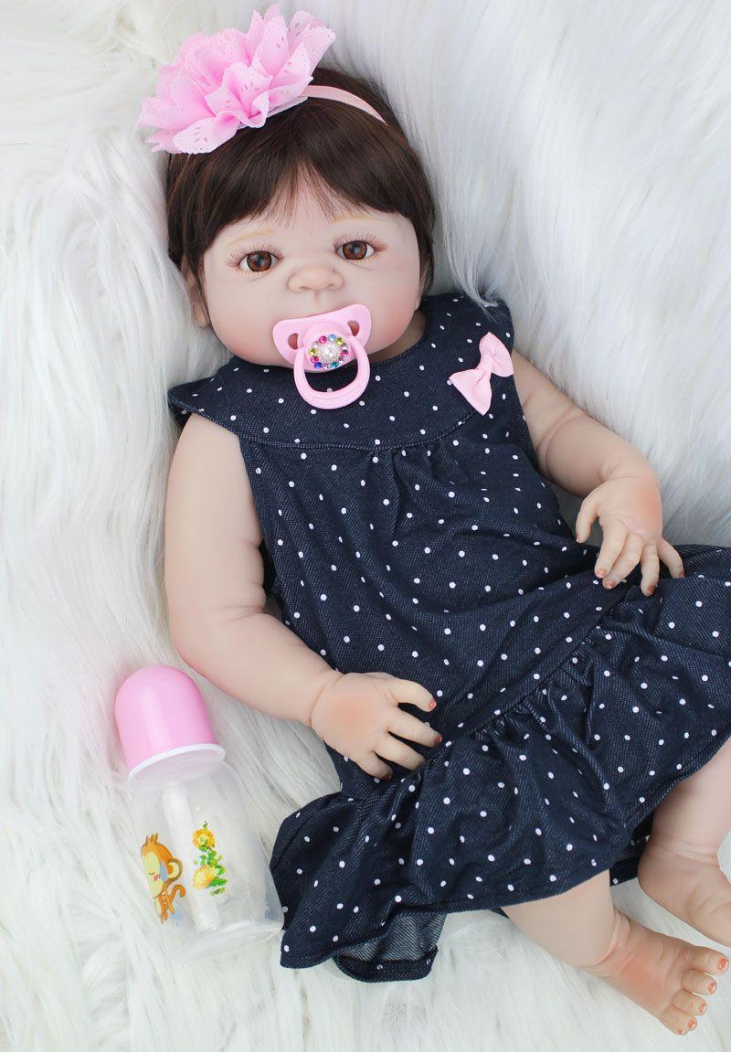 55cm Full Silicone Reborn Baby Doll Toys Lovely 22inch Newborn Princess Girl Toddler Babies Dolls Xmas Present Child Bathe Toy