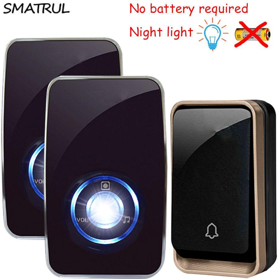 SMATRUL self powered Waterproof Wireless <font><b>DoorBell</b></font> night light sensor no battery EU plug smart Door Bell 1 2 button 1 2 Receiver
