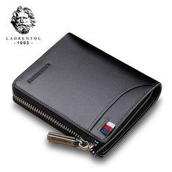 Laorentou hombres billetera titular de la tarjeta de cuero genuino cartera corta de lujo hombre marca monedero tarjeta casual carteras estándar