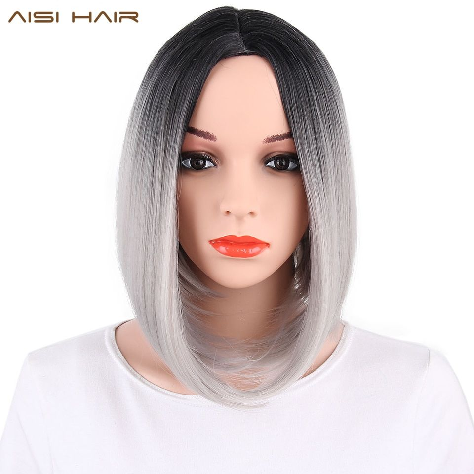 AISI HAIR <font><b>Synthetic</b></font> Ombre Grey Hair Bob Style Short Wigs for Women Black and Pink Hairs