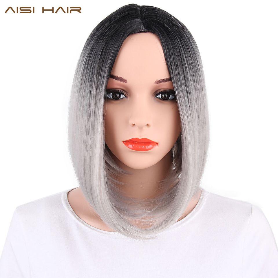 AISI cheveux synthétiques Ombre gris cheveux Bob Style perruques courtes pour les femmes cheveux noirs et roses