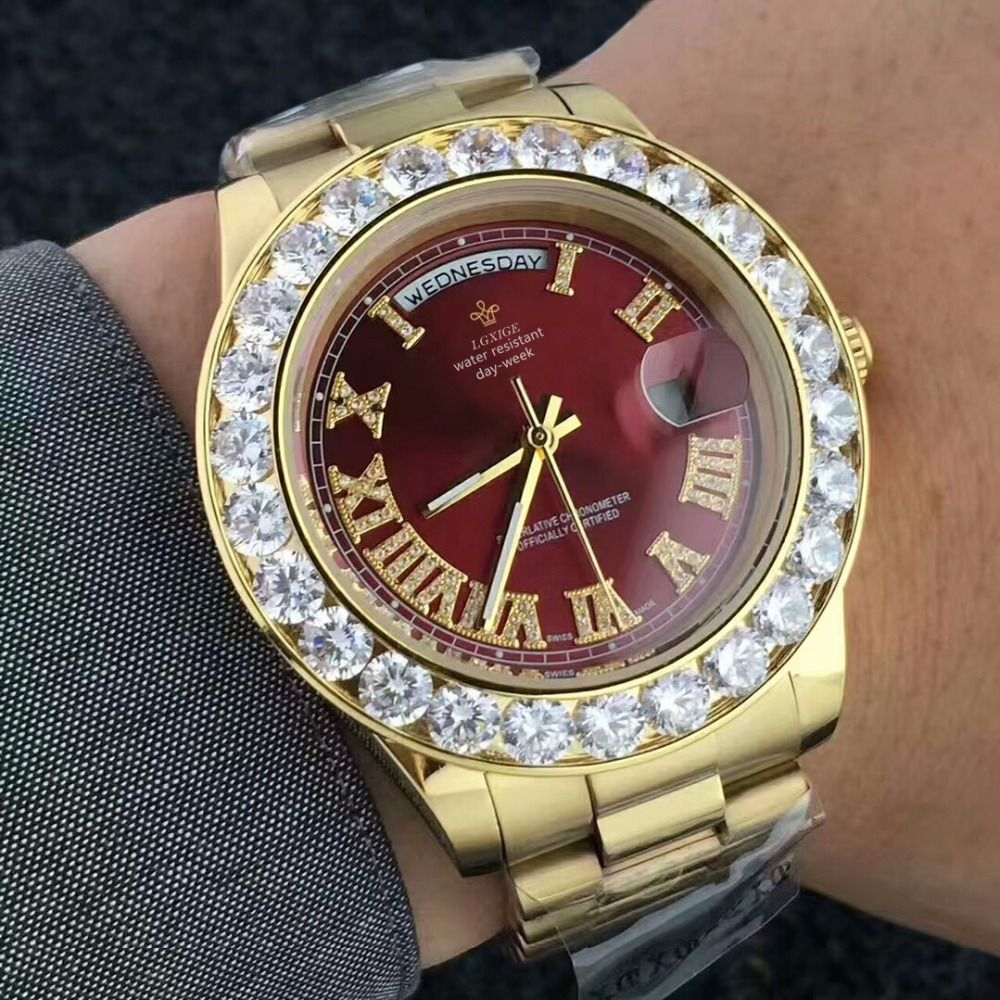 Big Diamond Luxury Brand Gold Watch Men Stainless Steel day-date Men's WristWatch President Top Male Clock For relogio masculino