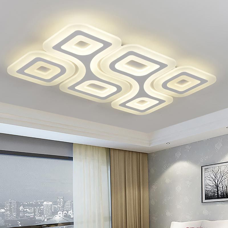 Modern White Acrylic Ceiling Lights Fixtures With Remote Control Living Room Bedroom Big Led Ceiling Lamp Decor Home Lighting