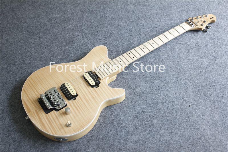 China Natürliche Holz Fleck Finish Suneye Musik Mann ACHSE Elektrische Gitarren Mit Chrome Floyd Rose Tremlo Für Verkauf