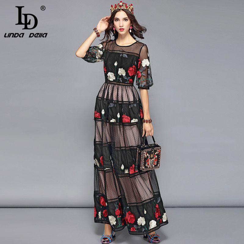 LD LINDA DELLA Frühling Vintage Maxi Kleider frauen Elegante Spitze Patchwork Mesh Blume Stickerei Kleid Lange Party Kleider