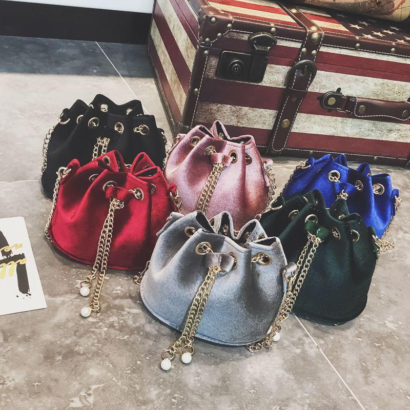 Girls Velour Fashion Bucket Messenger Bag Children Ladylike Cross Body Mini Evening Bag Pack 6173