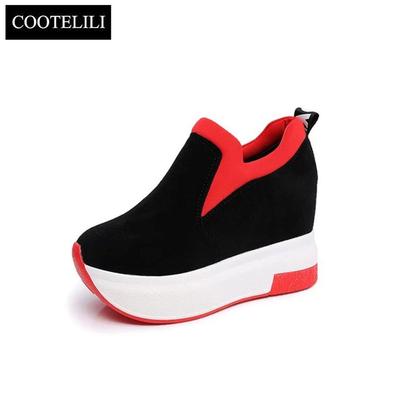 COOTELILI Spring Women Wedges Platforms Faux Suede Loafers Round Toe Inside Heighten Slip-On Pumps Casual Shoes Woman
