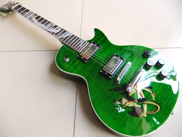 Wholesale Cnbald Slash Electric Guitar With Abalone Snake Inlay In Green Burst Top Quality 101119