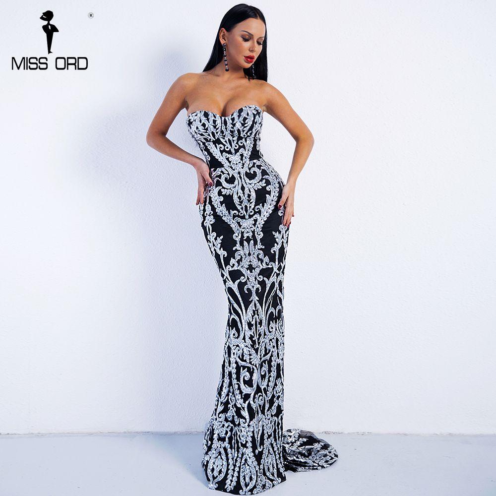 Missord 2018 Sexy New Bra Off Shoulder Retro Geometry Sequin Female Dresses Floor Length Party Elegant Dress Vestdios FT8888-2