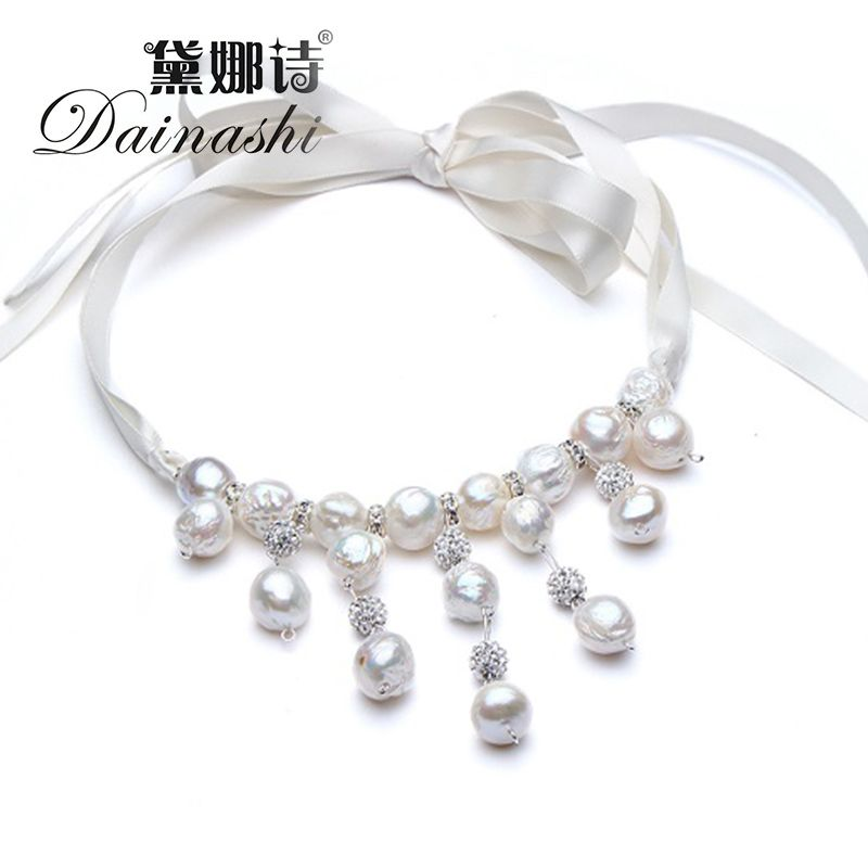 2017 new fashion natural freshwater pearl AAAA 12-13mm pearl chocker necklaces for girls women friends DIY chain rope 3 color