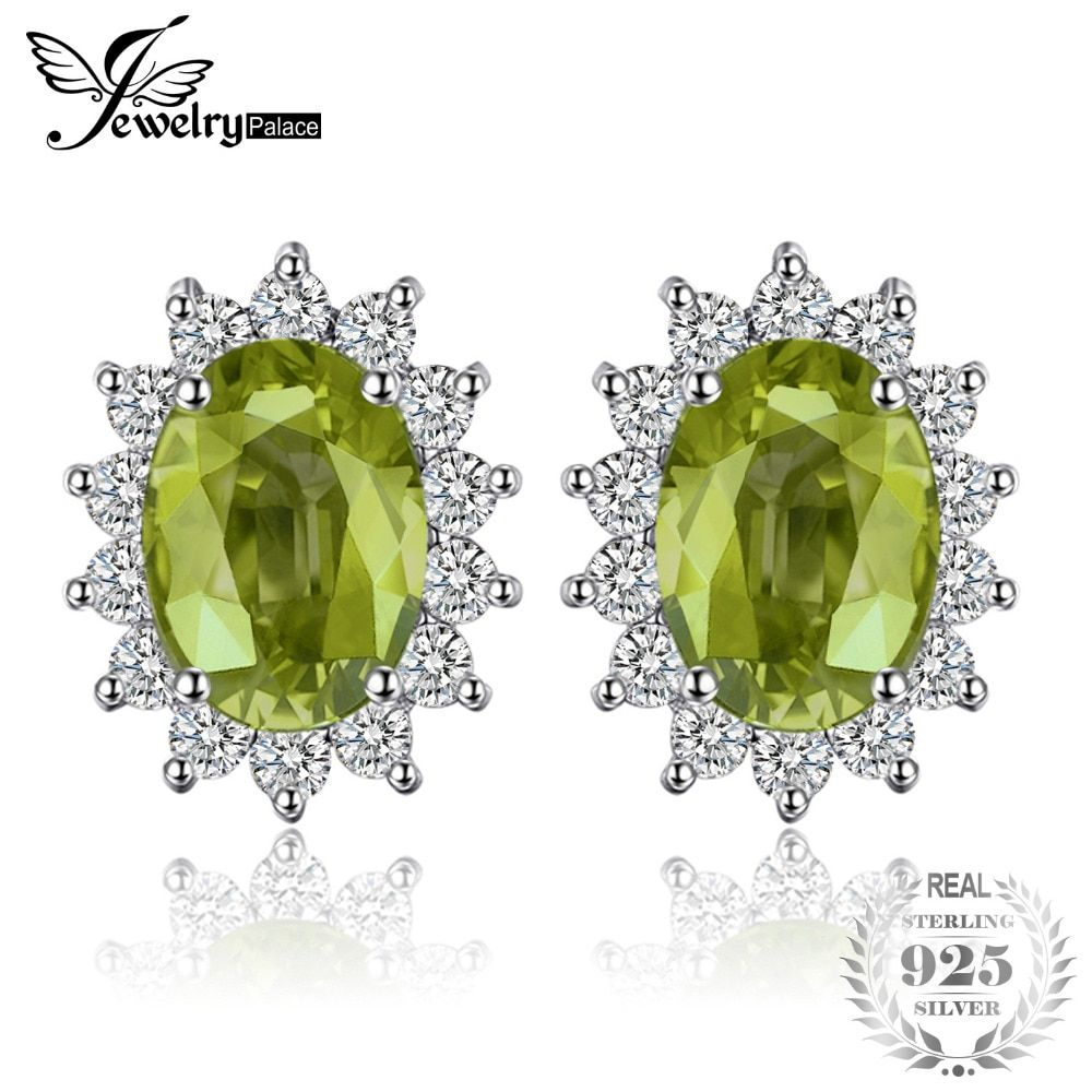 JewelryPalace Princess Diana William Kate 1.2ct Natural Peridot Halo Stud Earrings 925 Sterling Silver Fine Jewelry