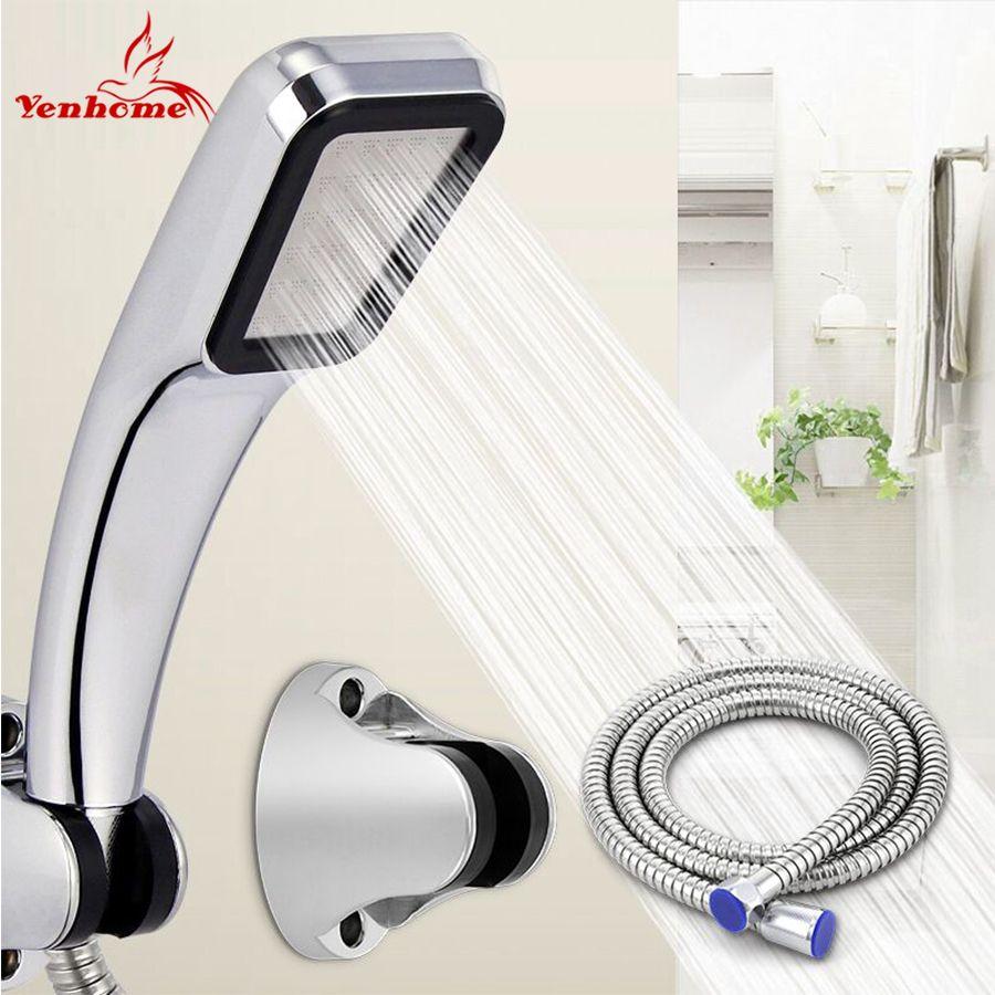 YenHome 30% économie d'eau 300% tête de douche haute pression avec tuyau et support qualité ABS Chrome pommeau de douche de salle de bain à main