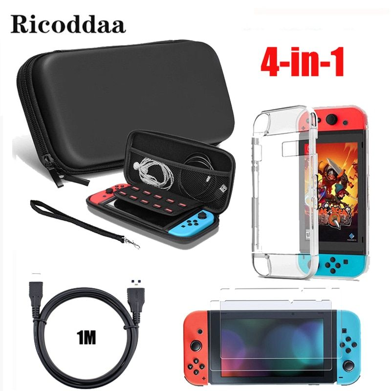 For Nintend Switch 4 in 1 Accessories Carring Case Bag+Charging Cable+Protector Shell Cover+Tempered Glass Screen Film For NS